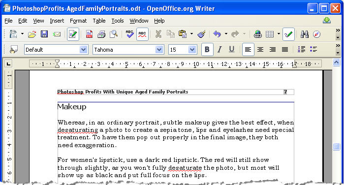 diting Open Office template